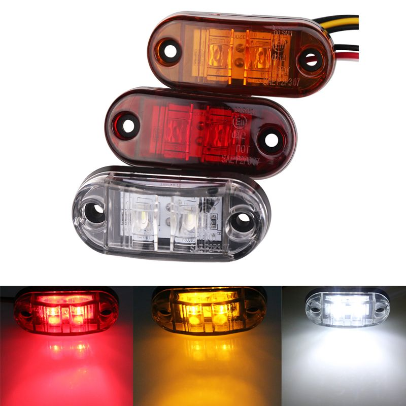 10pc 24/12v Led Side Marker Blinker Lights for Trailer Trucks  Piranha Caravan Side Clearance Marker Light Lamp Amber Red White