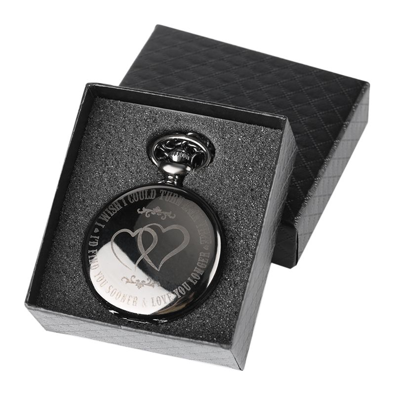 I WISH I COULD TURN BACK TIME Theme Retro Black Smooth Quartz Pocket Watch Engraved LOVE YOU LONGER Watch + 30cm Chain Gifts Box