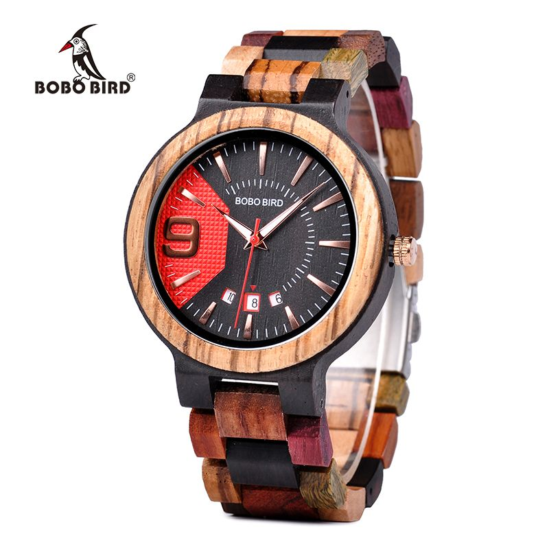 BOBO BIRD Q13 Date Display Business Watch for Mens Mixed Wooden Quartz Wristwatch in Wood Gift Box relojes hombre 2018