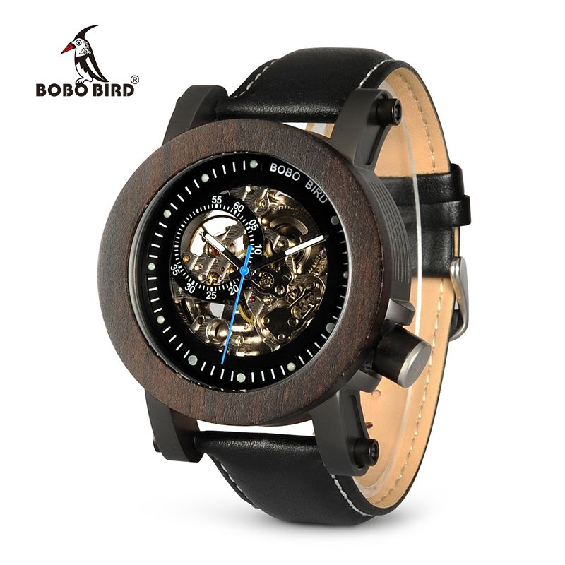 BOBO BIRD Wood Watch Men Vintage Bronze Skeleton Male Antique Steampunk Automatic <font><b>Mechanical</b></font> Watches relogio masculino W-K10