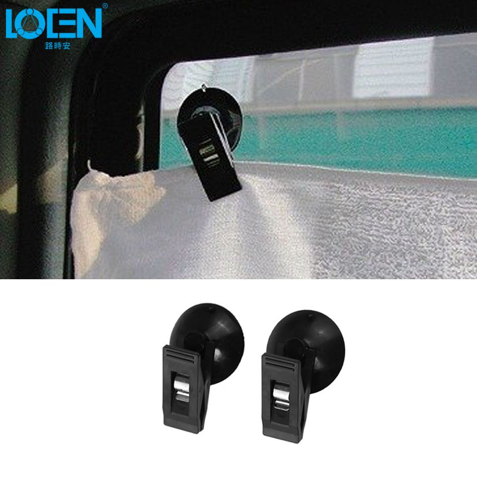 1 Pair Car Interior Window Mount Black Suction Cap Clip Plastic Sucker Removable Holder For Sunshade Curtain Towel Ticket