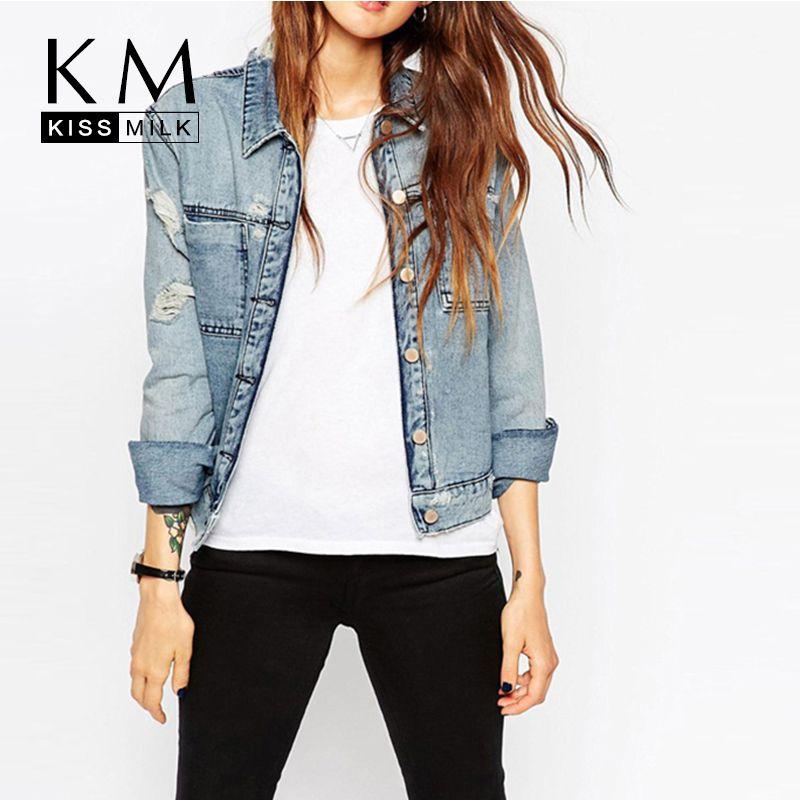 Kissmilk 2018 для женщин; Большие размеры большой Размеры Новая мода одной кнопки 3XL 4XL 5XL 6XL с длинными рукавами джинсовая куртка