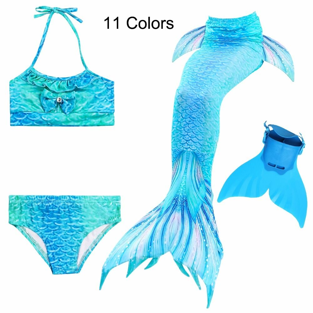 4 Pcs/11 Colors Girls Swimming Swimwear Ariel Mermaid Tail Costume with Monofin Little Children Kids Swimsuit Cosplay
