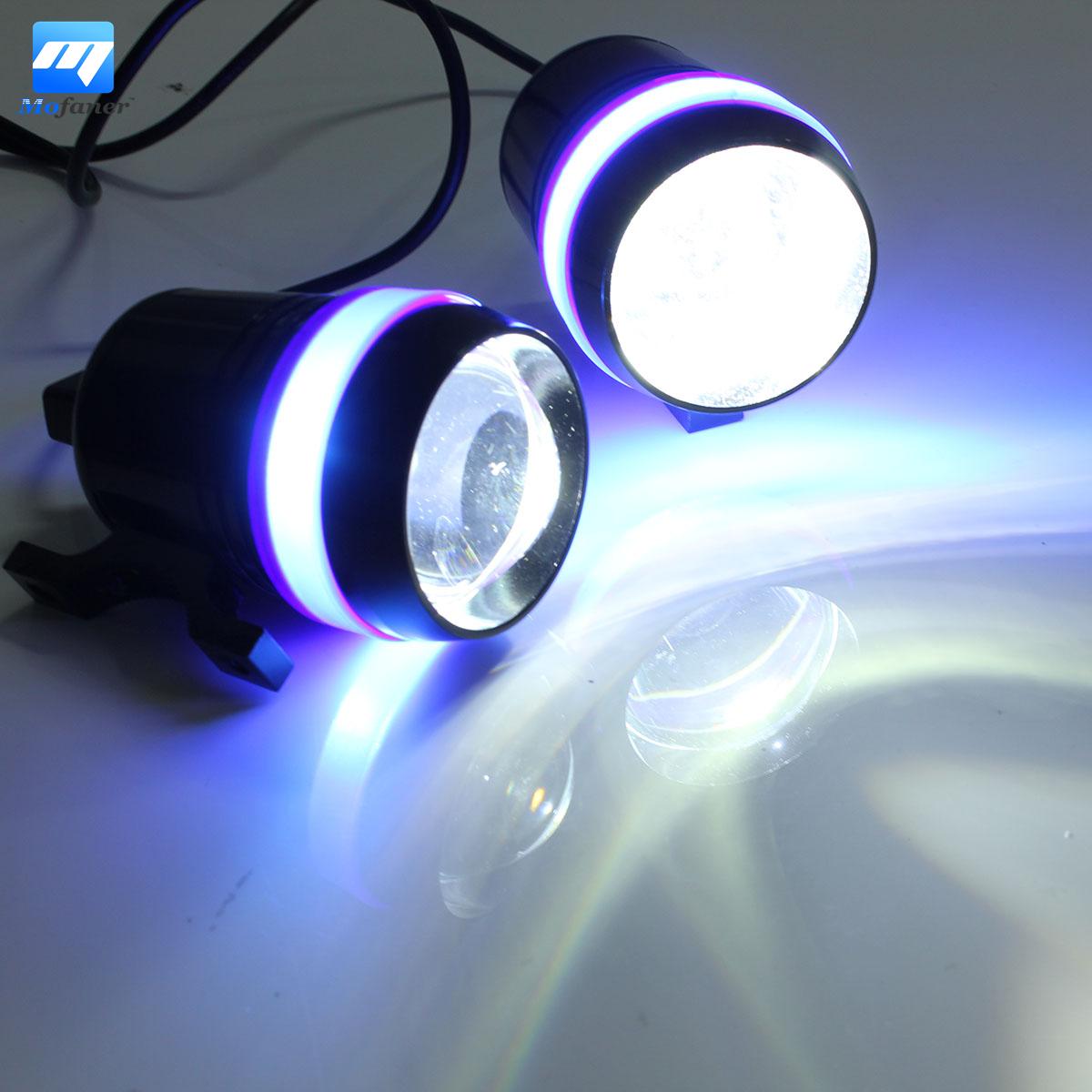 1 Pair 12V 30W Motorcycle Scooter LED Headlight Driving Fog Spot Light Angel Eye Lamp For Yamaha For Honda For kawasaki