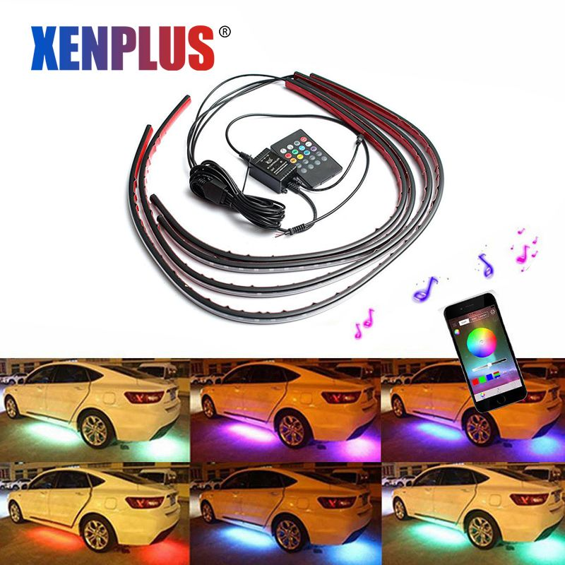 Colorful Waterproof RGB 5050 SMD Flexible LED Strip Under Car Tube Underbody Sem Neon Light Kit DC12V Remote Control 120cm 90cm