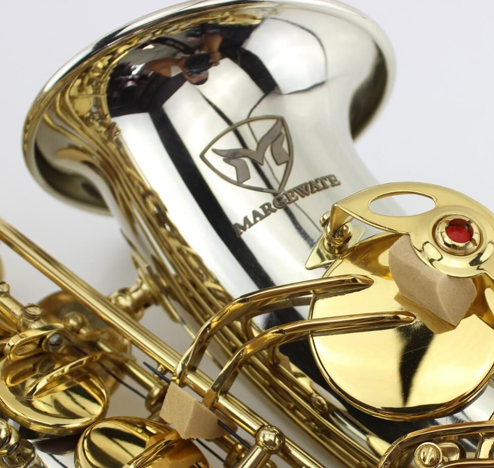 Lowest price high quality White copper gold key alto saxophone with mouthpiece,gloves,case.alto Eb sax