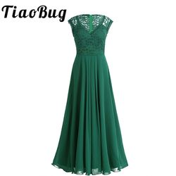 TiaoBug 2018 Green/Black Vestidos Women Bridesmaid Dresses Party Formal Pageant Dress Long Prom Tulle Lace Maxi Adults Dresses