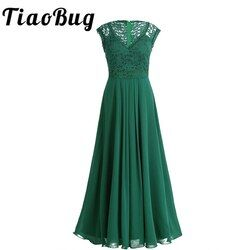 TiaoBug 2020 Green/Black Vestidos Women Bridesmaid Dresses Party Formal Pageant Dress Long Prom Tulle Lace Maxi Adults Dresses