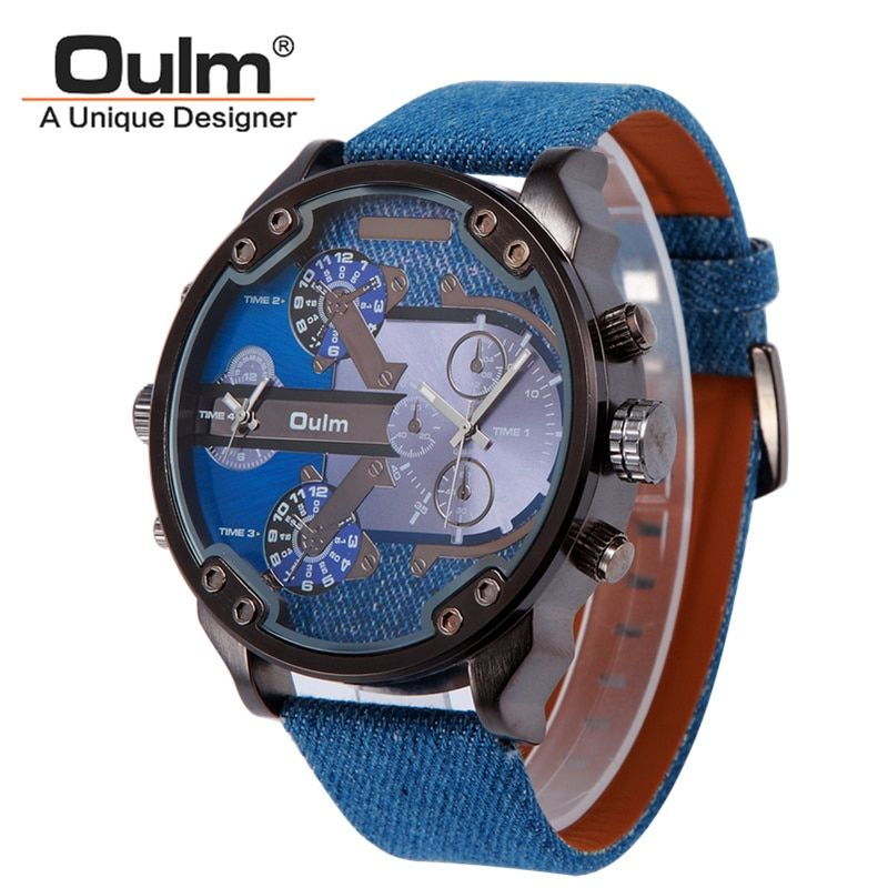 Brand Oulm Watch Double Movement Men Quartz <font><b>Relojes</b></font> Sports Leather Strap Watch Fashion Male Men military Wristwatch New Clock