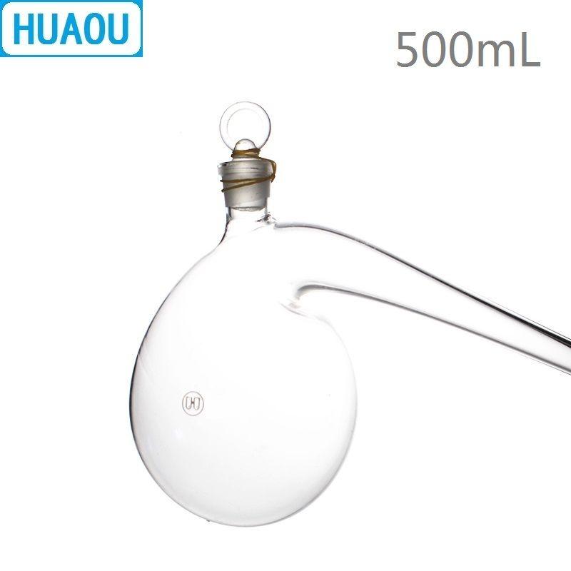 HUAOU 500 ml Retorte mit Boden-in Glas Stopper Borosilikat 3,3 Glas Destillation Destillationskolben Labor Chemie