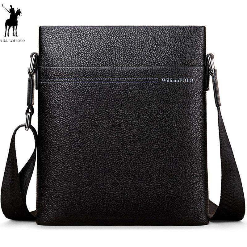 2018 New WILLIAMPOLO Bag Luxury Brand Male Messenger Bag Shoulder Leather Handbags Bolsas Grande Black Leather cowhide POLO001D