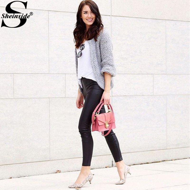 Sheinside Mohair Grey Cardigan 2017 Autumn Long Sleeve Women Casual Knitted Sweater Spring Fashion Brief Basic Loose Cardigan
