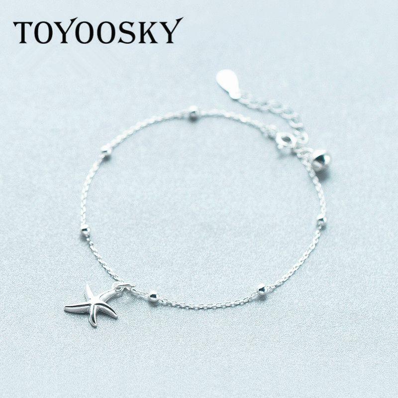 TOYOOSKY Réel Argent Cloche Étoiles Starfish Pendentifs Bracelets Mer Étoiles Charme Bracelets Femmes Mode Bijoux