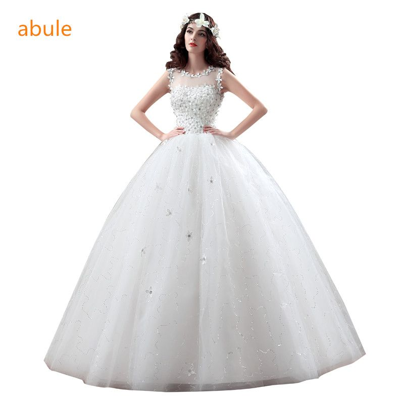 abule Wedding Dress 2017 Princess lace lace up beading bridal gown bridal dresses vestido de noiva plus size customize