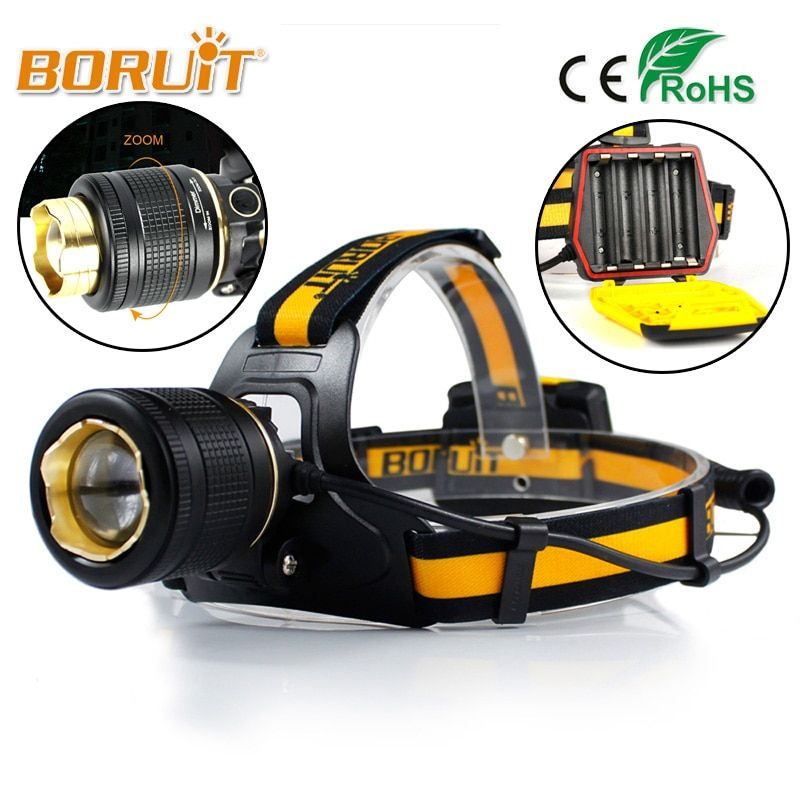 BORUIT 1800LM LED Headlight 4 Modes White Light Headlamp Zoomable Head Lamp Torch Linterna XML L2 AA Battery For Hunting Fishing