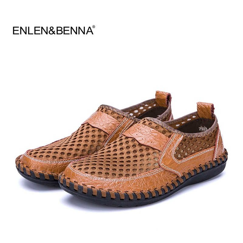 Summer Breathable Mesh Mens loafers Casual Genuine Leather Slip On Brand Fashion Shoes Man Soft Comfortable zapatillas hombre