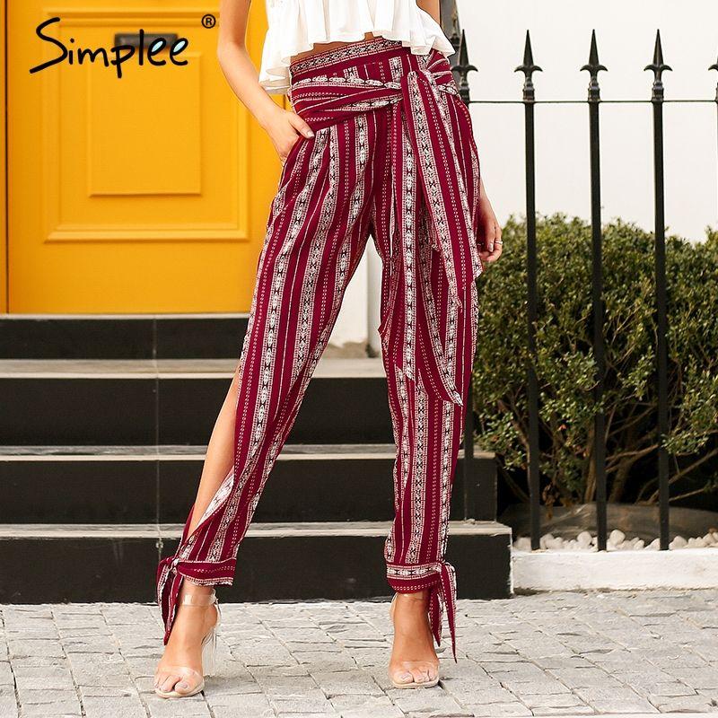 Simplee Striped print harem pants capri High split loose casual pants women bottom Sash summer trousers high waist pants 2018