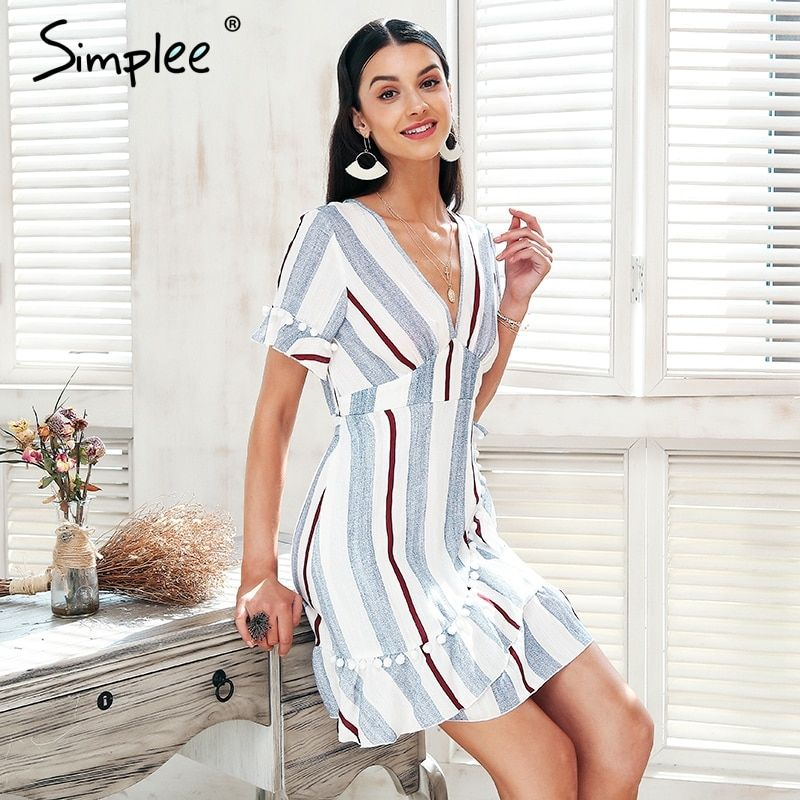 Simplee V neck stripe ruffle summer dress women Wrap style cotton short dress 2018 Streetwear casual dress female vestidos