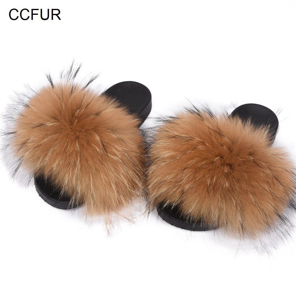 Women's Fur Slipper Real Raccoon Fur Fashion Style Furry Slides Soft Warm Fur Shoes S6020E
