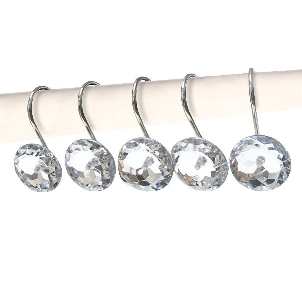Décoratif Cristal Rideau De Douche Crochets Bling Strass Rouille Preuve Poli Chrome pour Salle De Bains Douche Tige 12 PCS