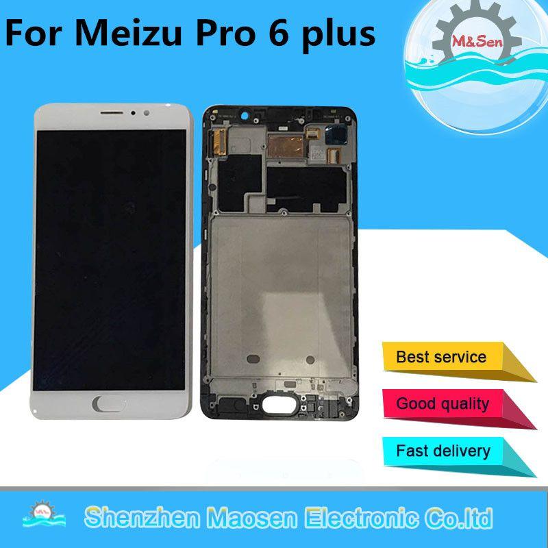 M & Sen Für 5,7 ''Meizu pro 6 plus LCD display + Touch panel Digitizer mit rahmen weiß/schwarz Kostenloser versand