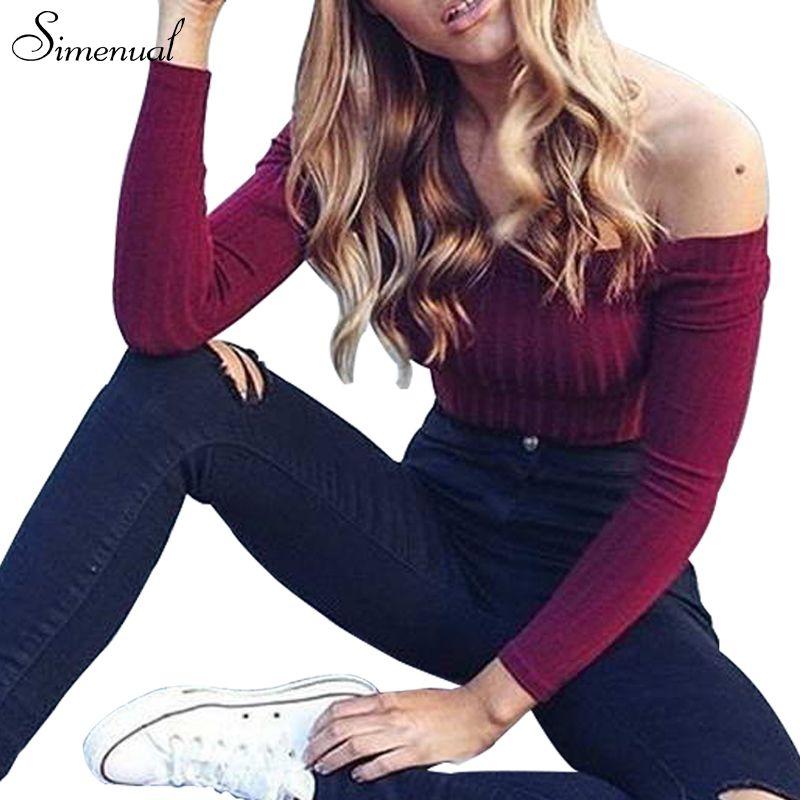 Otoño nuevo 2017 hombro camisa corta camisetas venta caliente camisetas cortas para las mujeres ropa de moda de manga larga sólido delgado de la camiseta