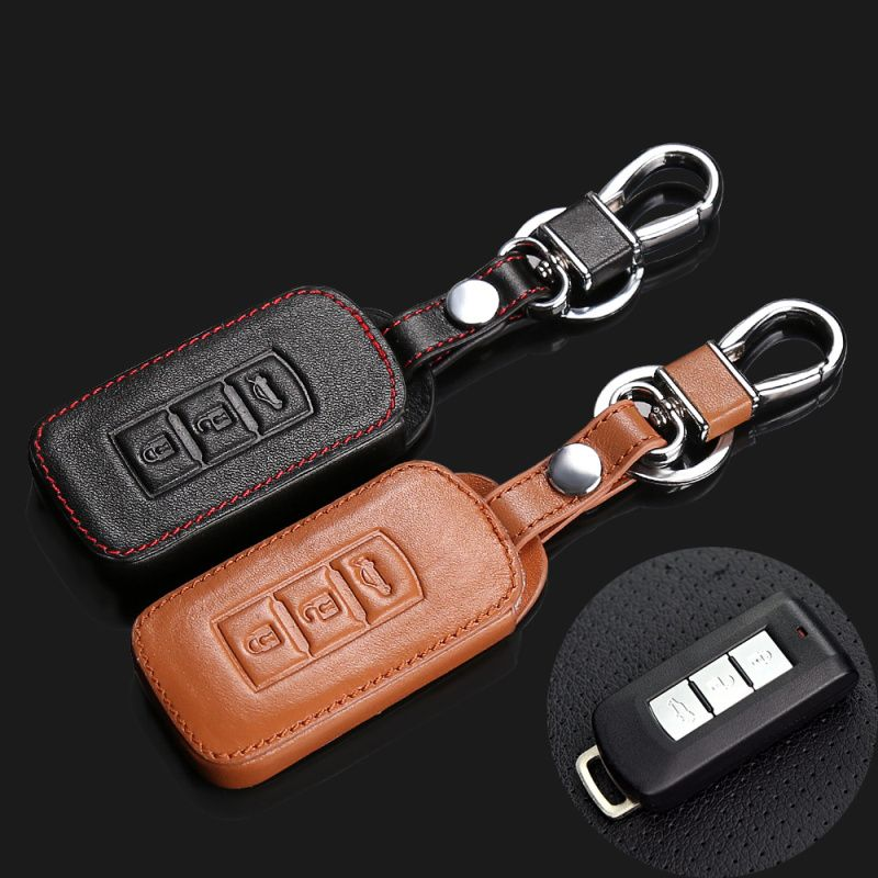 2017 hot sale 100% leather key case latest leather key cover for Mitsubishi ASX Pajero 3 button smart key starline a93