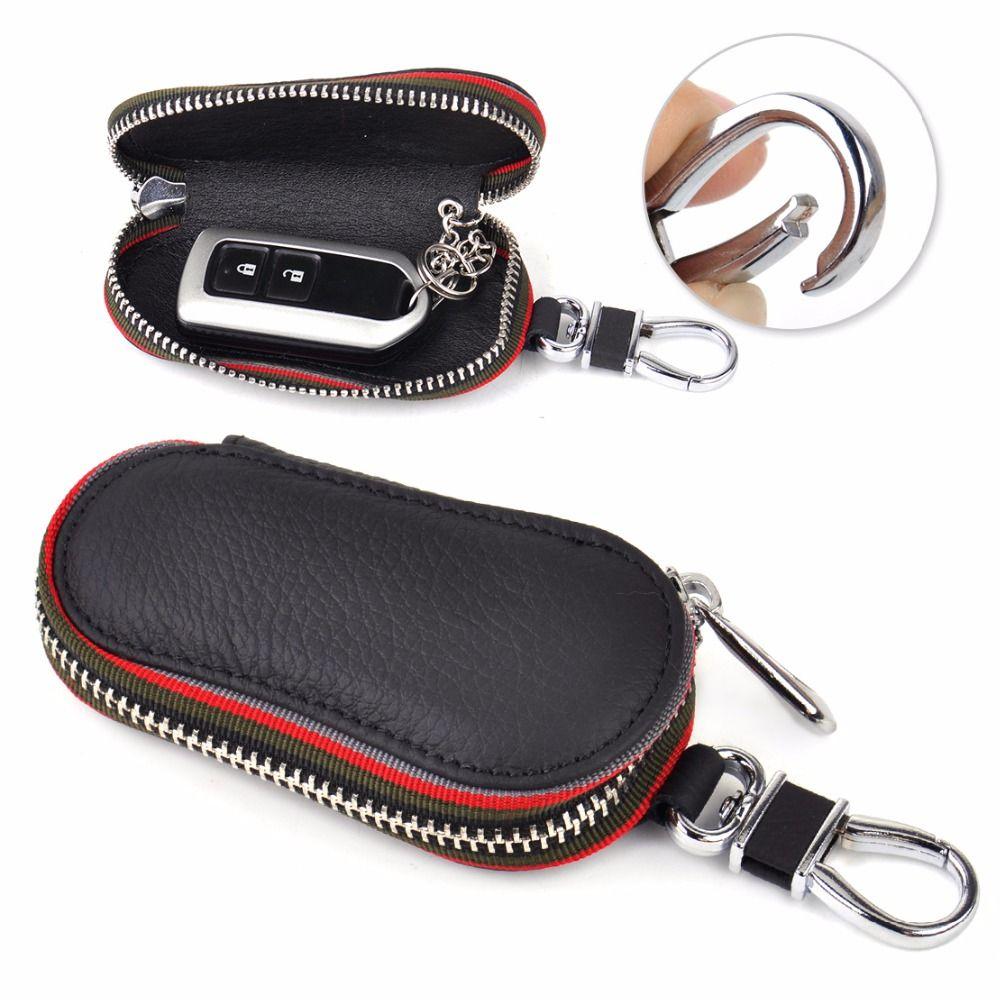 DWCX Car PU Leather Remote Zipper Key Holder Bags Storage Cases Cover Chain Smart for VW Audi BMW Peugeot Hyundai Mazda Honda