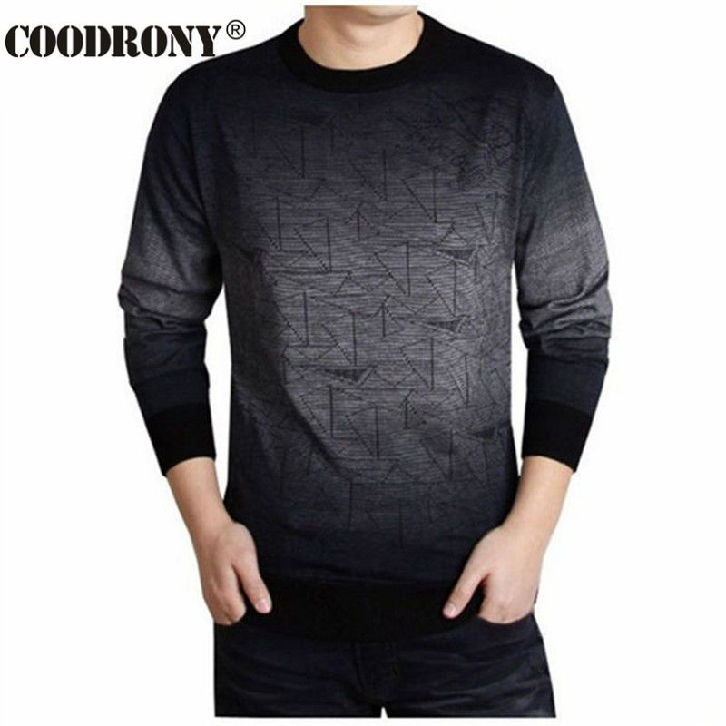 COODRONY Cashmere Sweater Men Brand Clothing Mens Sweaters Print Hang Pye Casual Shirt Wool Pullover Men Pull O-Neck Dress T 613