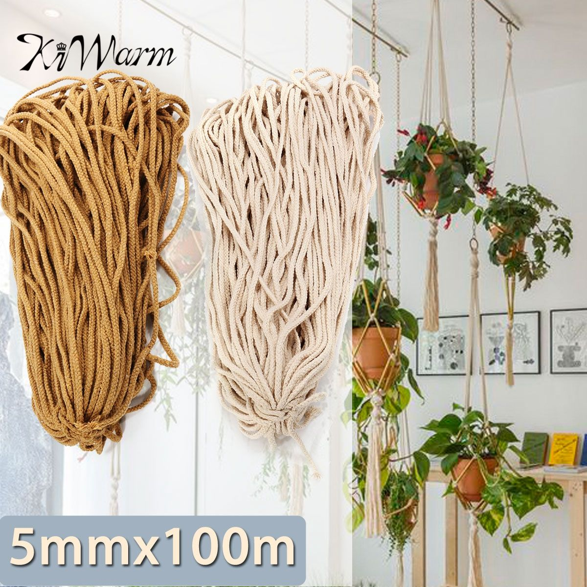 KIWARM 5mmx100m Braided Cotton Rope Twisted Cord Rope DIY Craft Macrame Woven String Home Textile Accessories Craft Gift