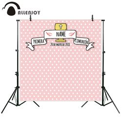 Allenjoy photographic background frame design baptism Communion pink spots baby new backdrop photocall photo printed customize
