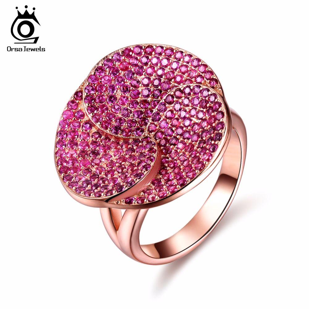 ORSA JOYAUX Mode De Luxe Plomb et Nickel Anneau Libre Or Rose Couleur Fleur parti Anneau avec 207 pcs AAA Zircon Cubique pour Femmes OR135