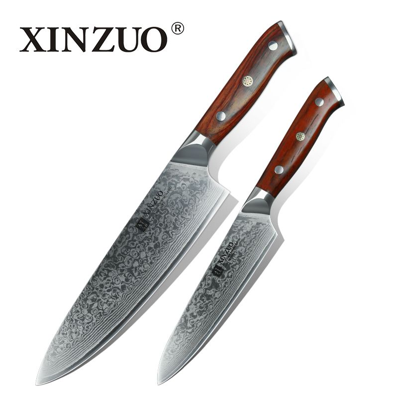 XINZUO 2 PCS Kitchen Knives Sets Japanese Damascus Steel Kitchen Knife Sharp Gyuto Chef Utility Cook Tool with Rosewood Handle