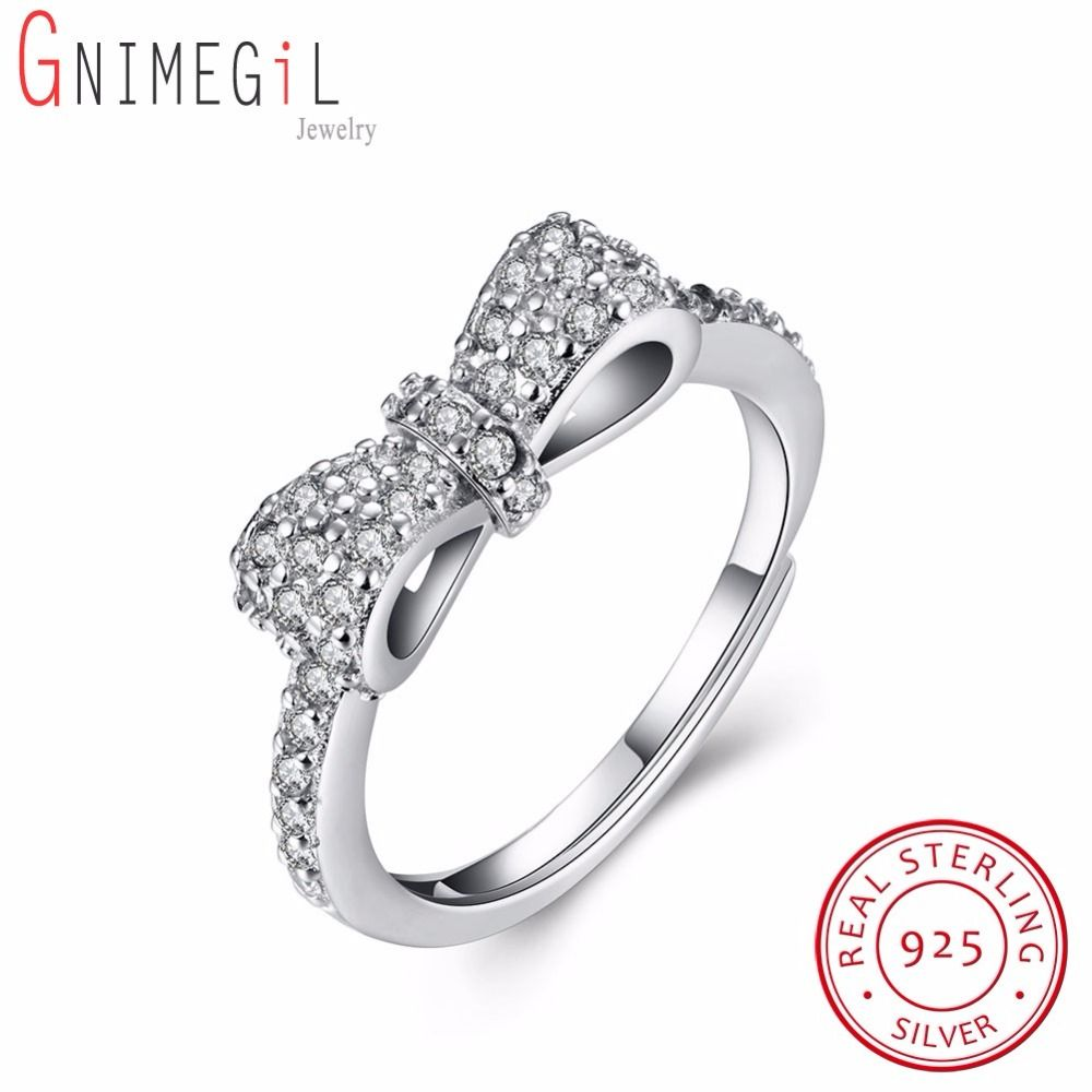 GNIMEGIL New 925 Sterling Silver Delicate Sentiments Bow Rings with Clear CZ Stone for Women Original Wedding Party Jewelry