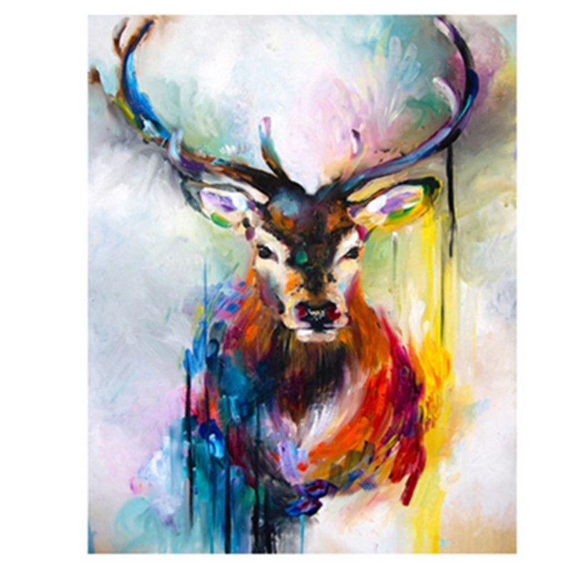 Peinture par numéros bricolage livraison directe 40x50 50x65cm la couleur tristesse wapiti Animal toile mariage décoration Art photo cadeau