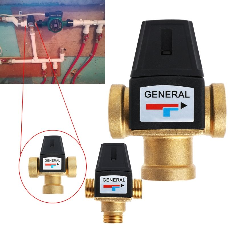 3 Way Brass DN20/DN25 Male Female Thread Water Thermostatic Mixing Valve 3/4
