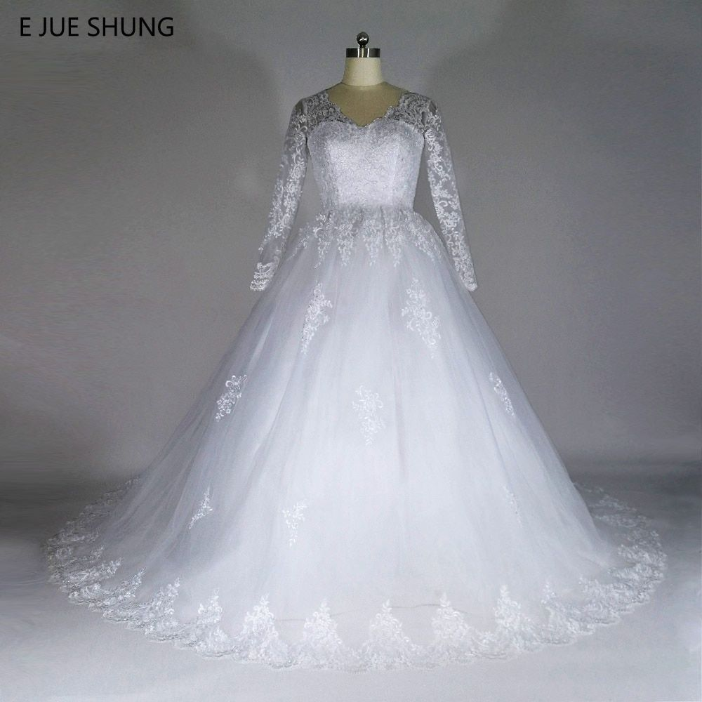 E JUE SHUNG Vintage Lace Appliques Ball Gown Cheap Wedding Dresses Long Sleeves Backless Wedding Gowns robe de marriage