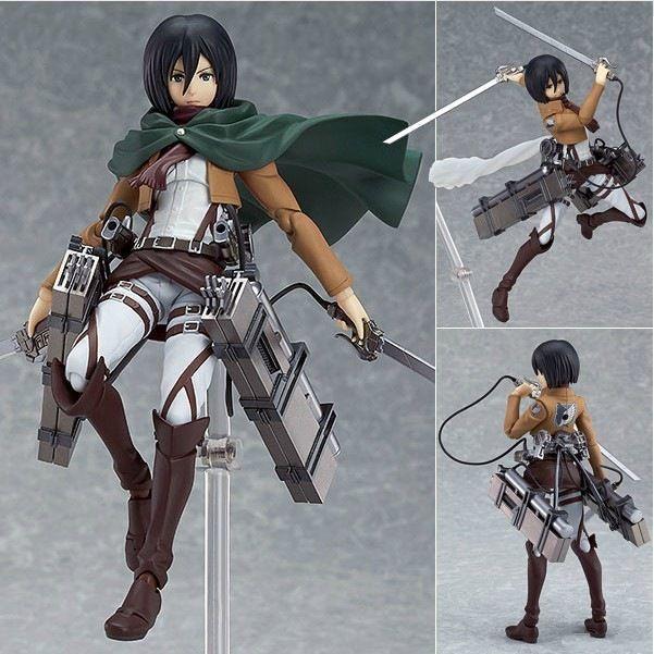 14cm anime attack on Titan Mikasa Ackerman Figma 203 PVC action Figure Model Collection Toy Gift shingeki no Kyojin Eren Levi