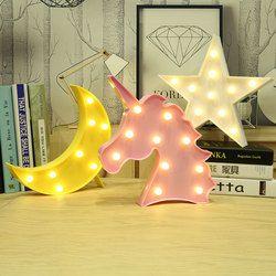 Luna cactus Nube Luz de la noche 3D luminaria unicornio estrella lámpara LED Nightlight regalo carta Juguetes decoración del dormitorio para los niños bebé