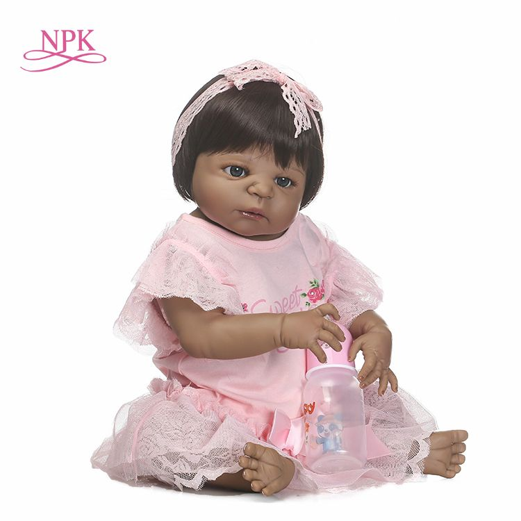 NPK free shipping boneca reborn black girl doll with full vinyl girl body doll best toys for children on Birthday