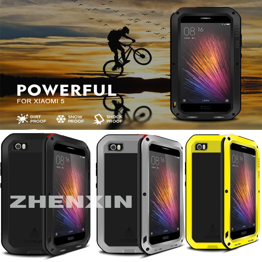 100% Original LOVE MEI Powerful Shockproof Metal Aluminum Case Fo Xiaomi 5 Mi5 Xiaomi 6 Mi6 +Tempered Gorilla Glass