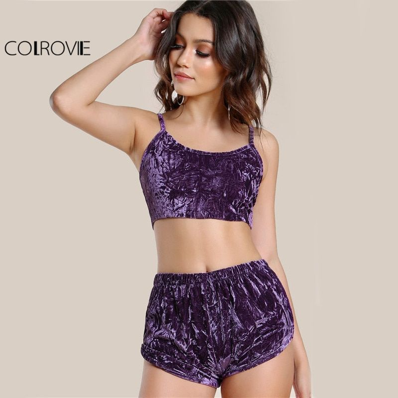 COLROVIE Velvet Sexy 2 Piece Set Women Purple Cami Crop Top With Shorts Set 2017 Summer Slim Casual Crushed Co-Ord Two Piece Set