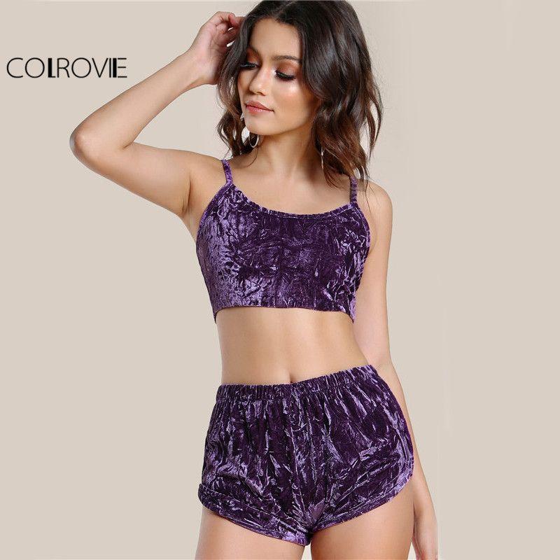 Colrovie бархат сексуальный комплект из 2 частей Для женщин фиолетовый Cami укороченный топ с Шорты для женщин комплект Лето 2017 г. тонкий Повседне...