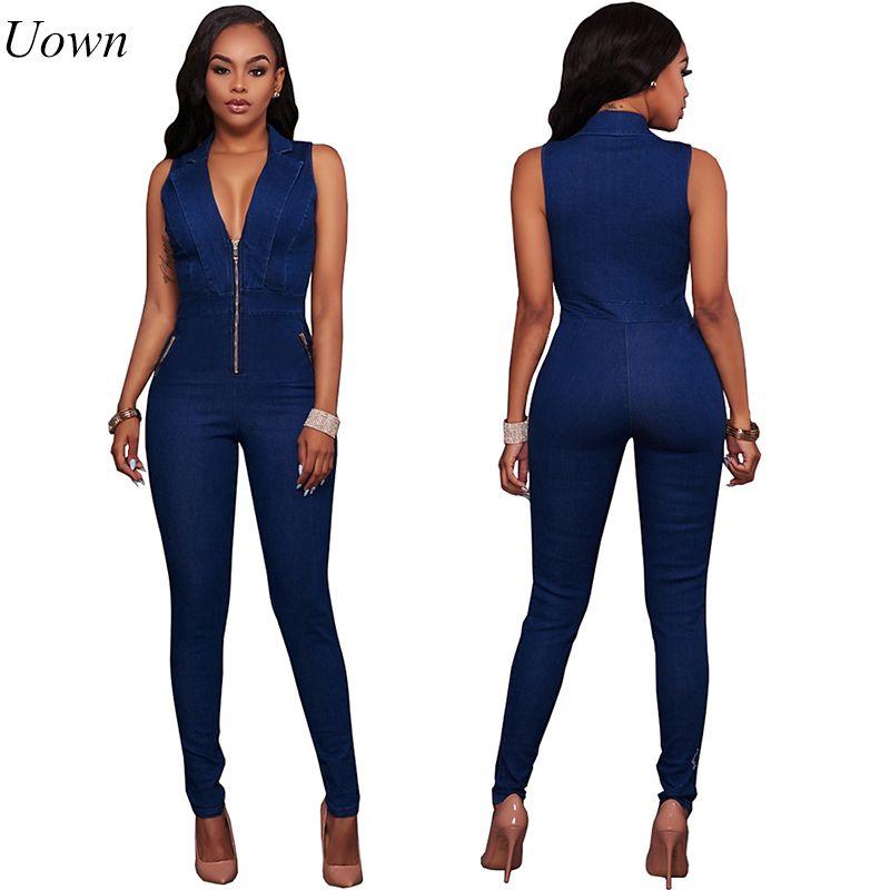 Femmes Jeans combinaisons Denim Long pantalon Sexy col en V profond Slim salopette combinaison fille sans manches tenue de club body barboteuse Zipper