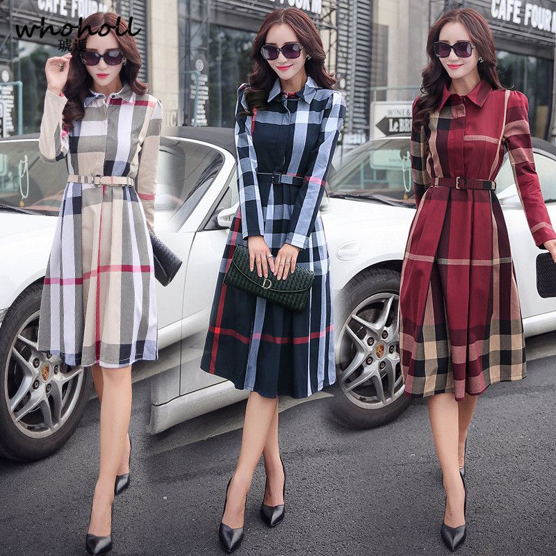 WHOHOLL big pendulum Plaid long sleeved dress (belt) Office Autumn Women's Dress Vintage Elegant A-line Knee Length Dresses