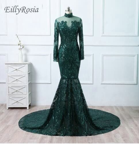 Sequined Lace Mermaid Evening Dresses Long Sleeve High Neck Mother of the Bride Formal Evening Gowns 2018 vestido de festa longo