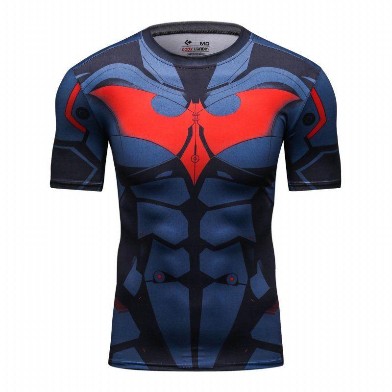 Rote Feder Männer Compression Sport Engen Schweiß Training T-shirt Batman Hemd, cosplay