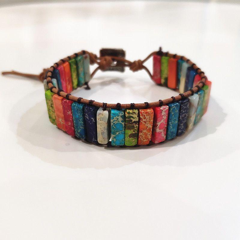 Pierre naturelle fait à la main Multi couleur Chakra Bracelet bijoux Tube perles en cuir Wrap Bracelet cadeaux créatifs Couples Bracelets