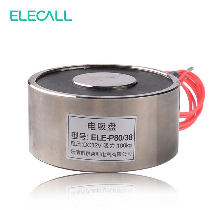 DC 12 V 14 Watt Elektrohubmagneten 100Kg Haltenden Elektromagneten Magnet ELE-P80/38