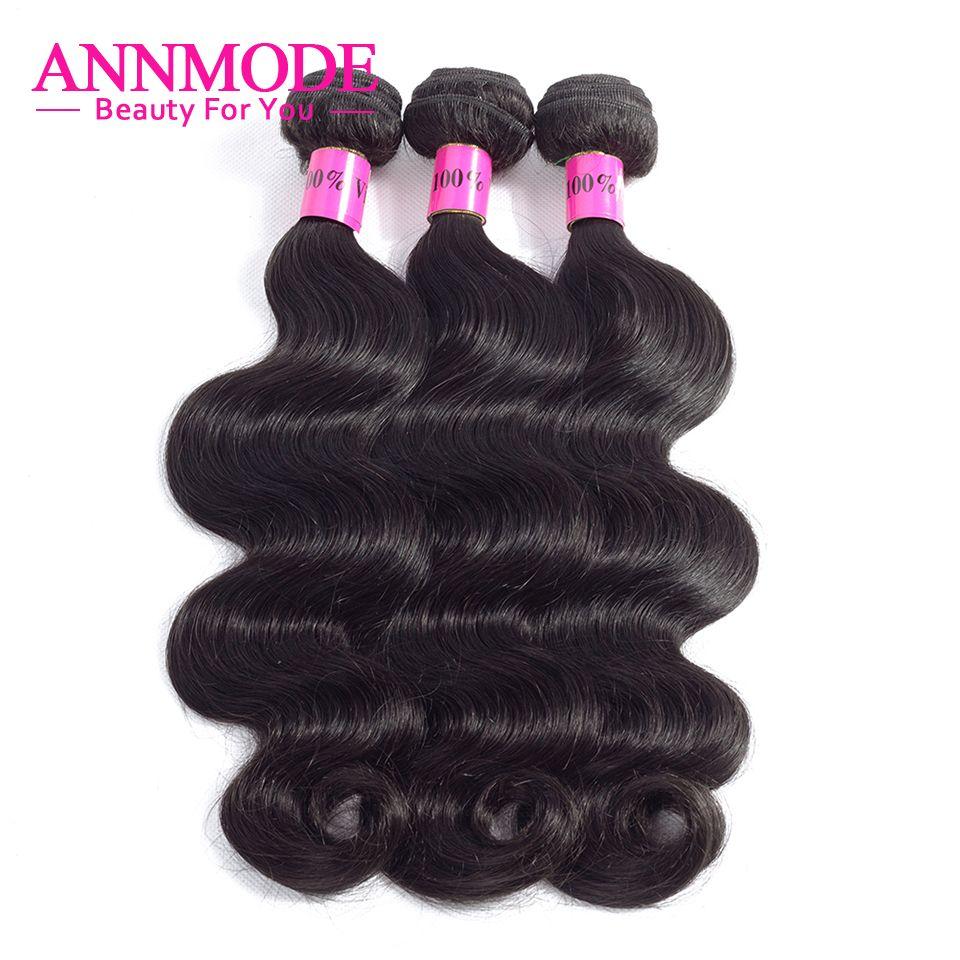 Annmode cheveux 1/3/4 paquets péruvien corps vague cheveux couleur naturelle Non Remy Extensions de cheveux humains livraison gratuite